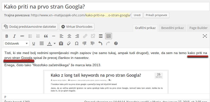 kako priti na prvo stran googla v prvem odstavku