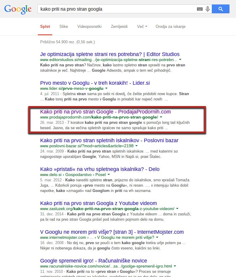 prva stran google