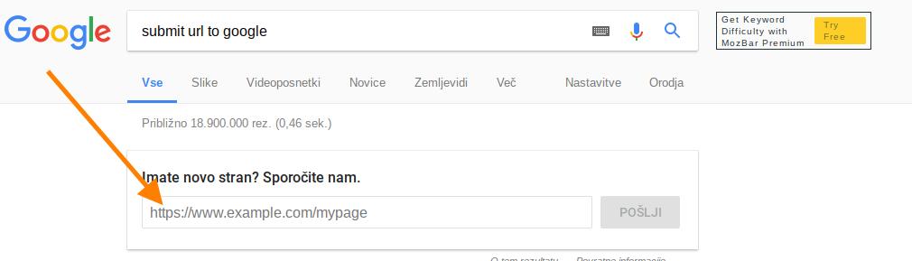 kako priti do prvih mest na googlu submit url