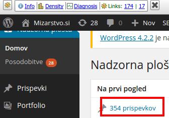 Nadzorna plošča ‹ Mizarstvo.si — WordPress