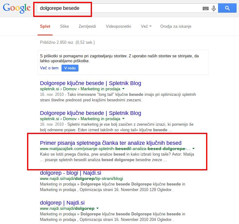 dolgorepe besede Iskanje Google