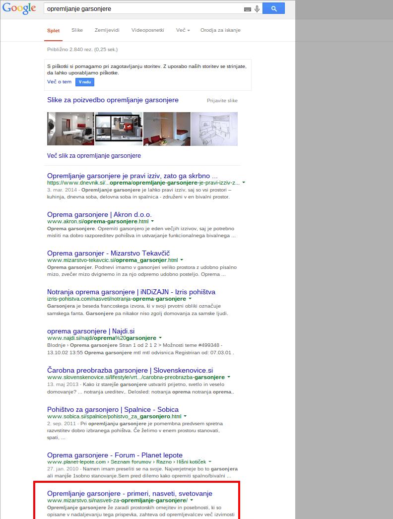 opremljanje garsonjere Iskanje Google