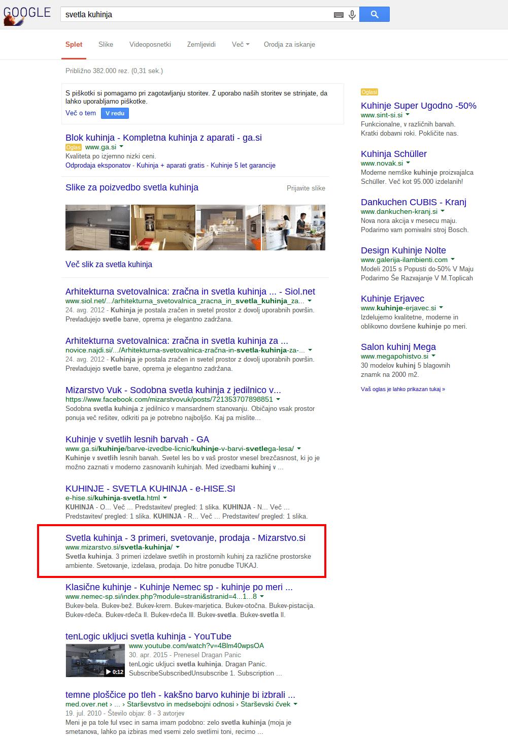seo svetla kuhinja Iskanje Google