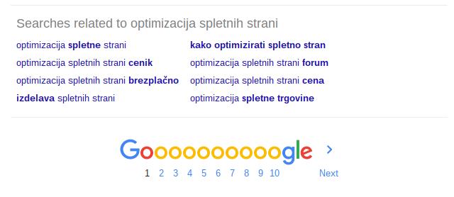 optimizacija spletnih strani sorodna iskanja