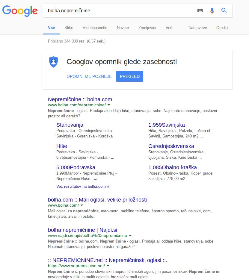 prikaz zadetkov v Google na long taile