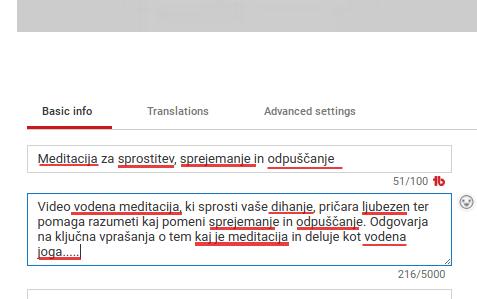 seo opis videa