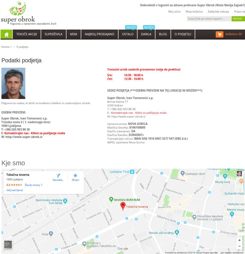 kontaktni podatki spletne trgovine