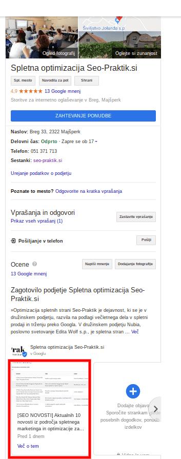 marketinška strategija google my business