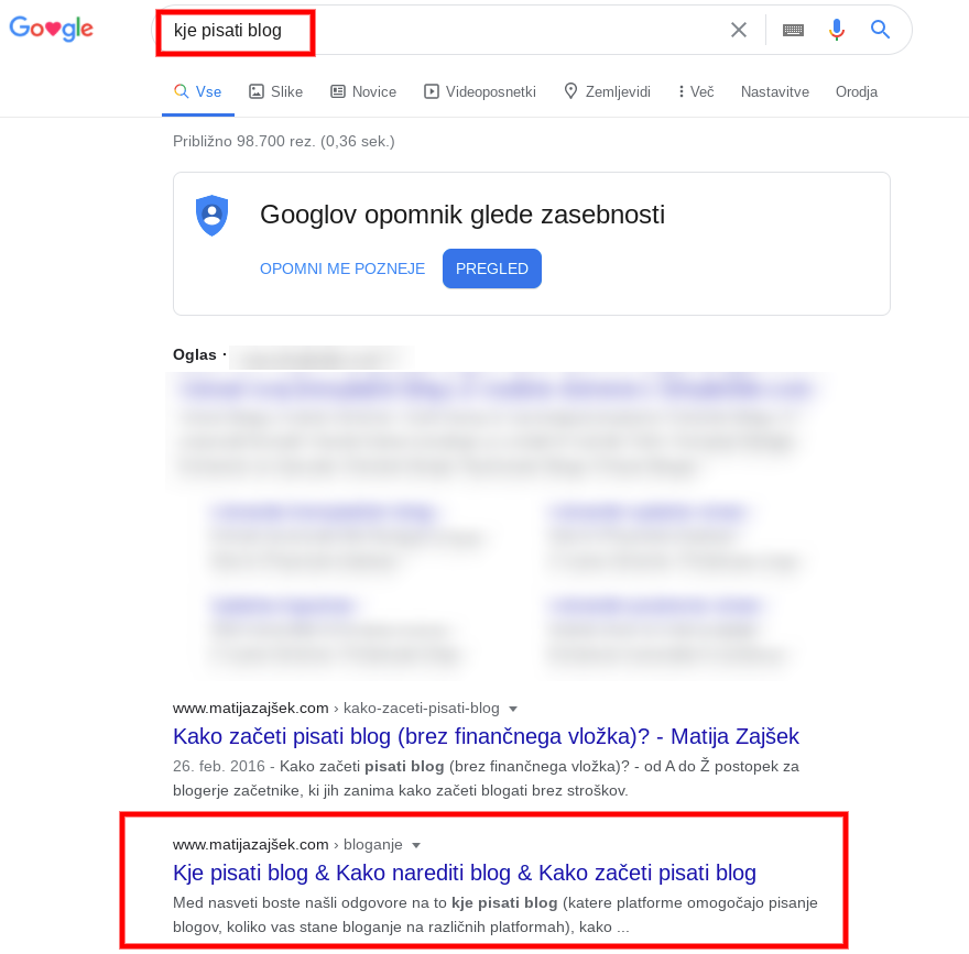 drugo mesto google