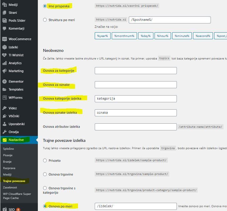 Nastavitve CMS WordPress